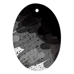 Black and gray pattern Ornament (Oval)