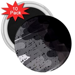 Black and gray pattern 3  Magnets (10 pack)