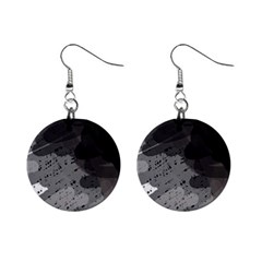 Black and gray pattern Mini Button Earrings