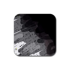 Black and gray pattern Rubber Square Coaster (4 pack)