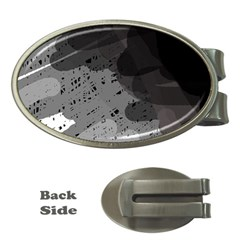 Black and gray pattern Money Clips (Oval)