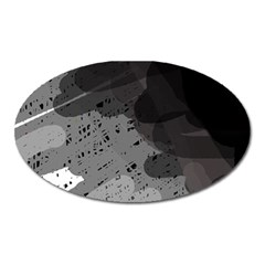 Black and gray pattern Oval Magnet