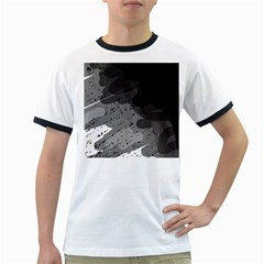 Black and gray pattern Ringer T-Shirts