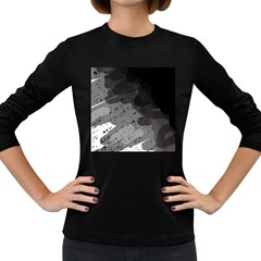 Black and gray pattern Women s Long Sleeve Dark T-Shirts