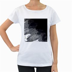 Black and gray pattern Women s Loose-Fit T-Shirt (White)