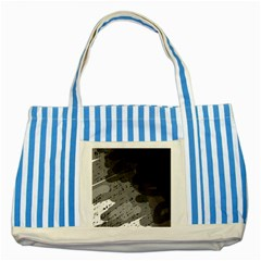 Black and gray pattern Striped Blue Tote Bag