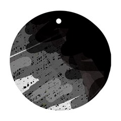 Black and gray pattern Round Ornament (Two Sides)