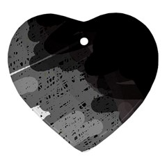 Black and gray pattern Heart Ornament (2 Sides)