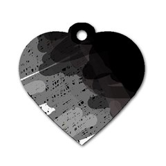 Black and gray pattern Dog Tag Heart (One Side)