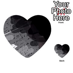 Black and gray pattern Multi-purpose Cards (Heart)