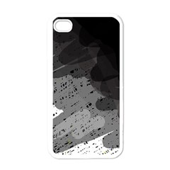 Black and gray pattern Apple iPhone 4 Case (White)