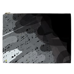 Black and gray pattern Cosmetic Bag (XXL)