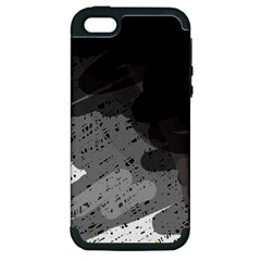 Black and gray pattern Apple iPhone 5 Hardshell Case (PC+Silicone)