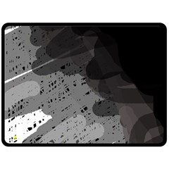 Black and gray pattern Double Sided Fleece Blanket (Large)