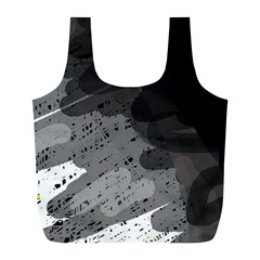 Black and gray pattern Full Print Recycle Bags (L)