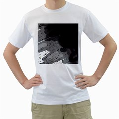 Black and gray pattern Men s T-Shirt (White)