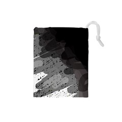Black and gray pattern Drawstring Pouches (Small)