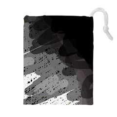 Black and gray pattern Drawstring Pouches (Extra Large)