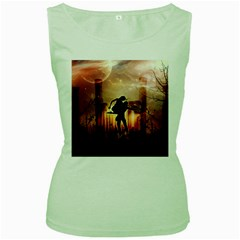 Dancing In The Night With Moon Nd Stars Women s Green Tank Top
