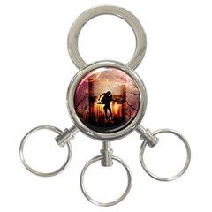 Dancing In The Night With Moon Nd Stars 3-Ring Key Chains