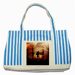 Dancing In The Night With Moon Nd Stars Striped Blue Tote Bag