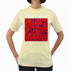 Blue and red pattern Women s Yellow T-Shirt