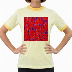 Blue and red pattern Women s Fitted Ringer T-Shirts