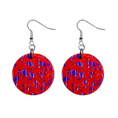 Blue and red pattern Mini Button Earrings