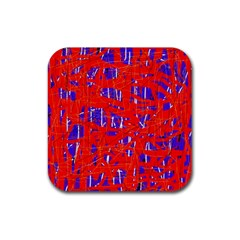Blue and red pattern Rubber Coaster (Square)