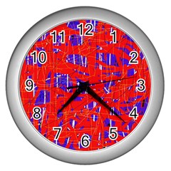 Blue and red pattern Wall Clocks (Silver)