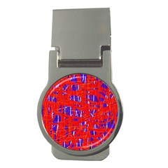 Blue and red pattern Money Clips (Round)