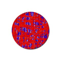 Blue and red pattern Rubber Coaster (Round)