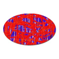 Blue and red pattern Oval Magnet