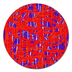 Blue and red pattern Magnet 5  (Round)