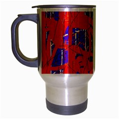 Blue and red pattern Travel Mug (Silver Gray)