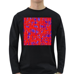 Blue and red pattern Long Sleeve Dark T-Shirts