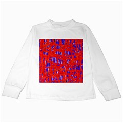 Blue and red pattern Kids Long Sleeve T-Shirts