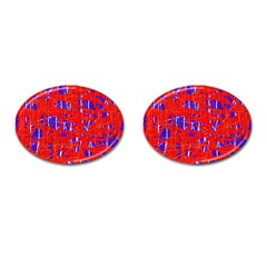 Blue and red pattern Cufflinks (Oval)
