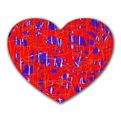 Blue and red pattern Heart Mousepads