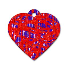 Blue and red pattern Dog Tag Heart (Two Sides)