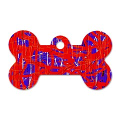 Blue and red pattern Dog Tag Bone (One Side)