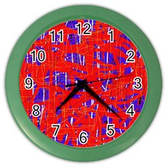 Blue and red pattern Color Wall Clocks