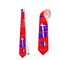 Blue and red pattern Neckties (One Side)