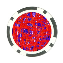 Blue and red pattern Poker Chip Card Guards