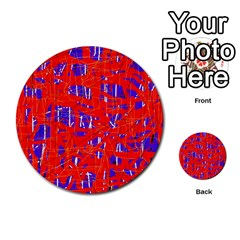 Blue and red pattern Multi-purpose Cards (Round)