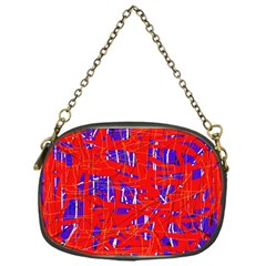Blue and red pattern Chain Purses (One Side)