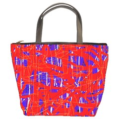Blue and red pattern Bucket Bags