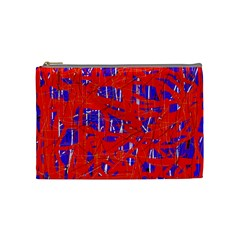 Blue and red pattern Cosmetic Bag (Medium)