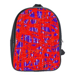 Blue and red pattern School Bags(Large)