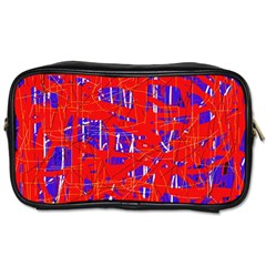 Blue and red pattern Toiletries Bags 2-Side